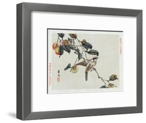 Bird Perched on a Branch from a Fruit Tree, Japanese Wood-Cut Print by Lantern Press