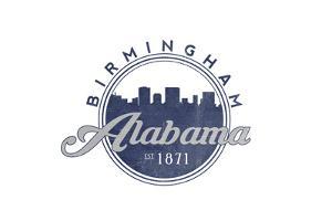 Birmingham, Alabama - Skyline Seal (Blue) by Lantern Press