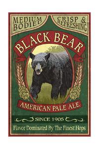 Black Bear Ale - Vintage Sign by Lantern Press