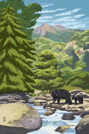 Black Bears and Stream - Image Only
