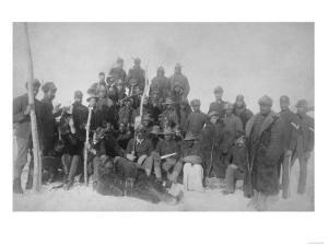 """Black """"Buffalo Soldiers"""" of the 25th Infantry Photograph - Fort Keogh, MT by Lantern Press"""