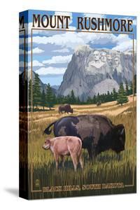 Black Hills, South Dakota - Bison Grazing by Lantern Press