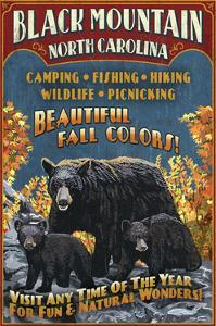 Black Mountain, North Carolina - Black Bears Vintage Sign by Lantern Press