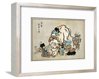 Blind Monks Examining an Elephant, Japanese Wood-Cut Print