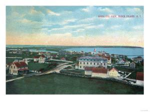 Block Island, Rhode Island - Aerial View of the Town by Lantern Press