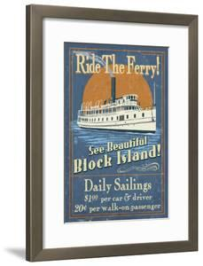 Block Island, Rhode Island - Ferry Ride Vintage Sign by Lantern Press
