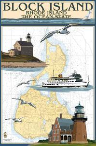 Block Island, Rhode Island - Nautical Chart with Ferry by Lantern Press
