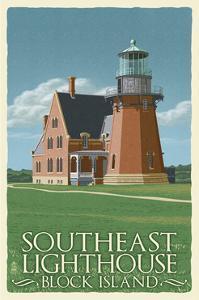 Block Island, Rhode Island - South East Lighthouse - Letterpress by Lantern Press