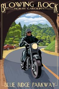 Blowing Rock, North Carolina - Motorcycle and Tunnel by Lantern Press