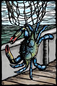 Blue Crab - Scratchboard by Lantern Press