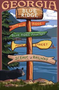 Blue Ridge, Georgia - Destination Signpost by Lantern Press