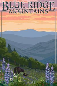 Blue Ridge Mountains - Bear Family and Spring Flowers by Lantern Press