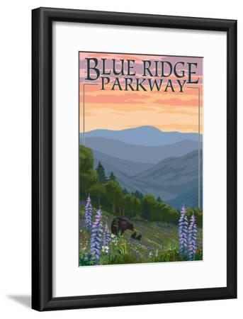 Blue Ridge Parkway - Bear Family and Spring Flowers