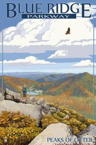 Blue Ridge Parkway - Peaks of Otter in Fall by Lantern Press
