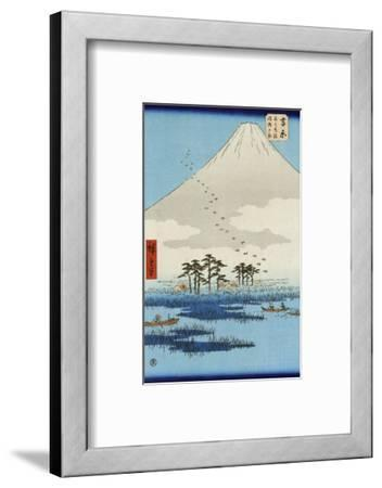 Boats on a Lake with Mount Fuji in the Background, Japanese Wood-Cut Print