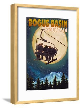 Bogus Basin, Idaho - Ski Lift and Full Moon with Snowboarder