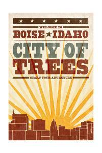 Boise, Idaho - Skyline and Sunburst Screenprint Style by Lantern Press