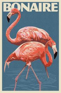 Bonaire, Dutch Caribbean - Flamingo by Lantern Press