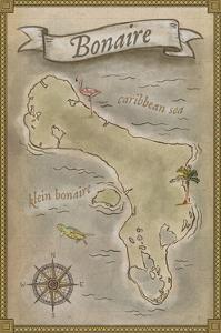 Bonaire, Dutch Caribbean - Treasure Map by Lantern Press
