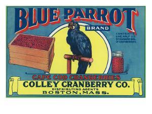 Boston, Massachusetts, Blue Parrot Brand Cape Cod Cranberry Label by Lantern Press