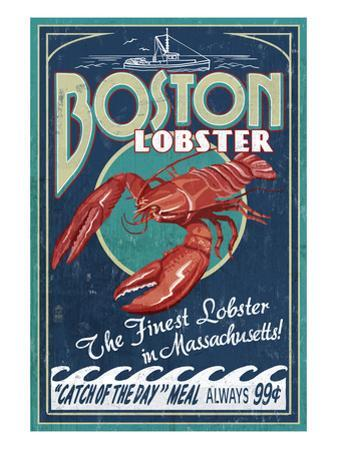 Boston, Massachusetts - Lobster by Lantern Press