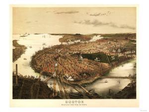 Boston, Massachusetts - Panoramic Map by Lantern Press