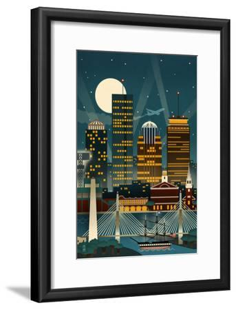 Boston, Massachusetts - Retro Skyline (no text)