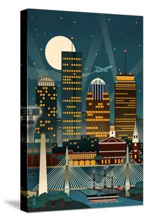 Boston, Massachusetts - Retro Skyline (no text)