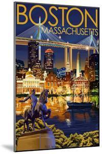 Boston, Massachusetts - Skyline at Night by Lantern Press