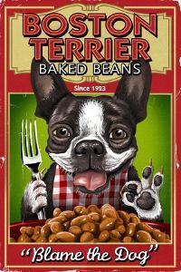 Boston Terrier - Retro Baked Beans Ad by Lantern Press