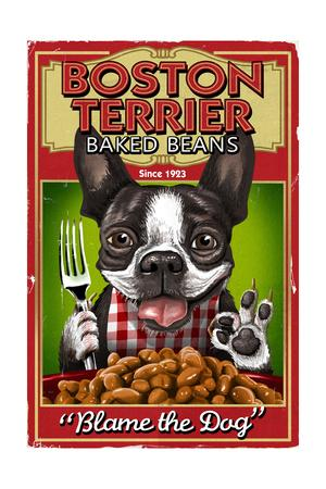 Boston Terrier - Retro Baked Beans Ad
