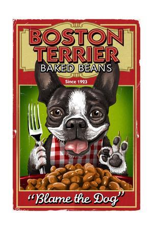 Boston Terrier - Retro Baked Beans Ad