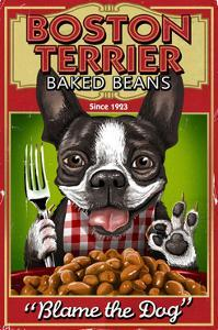 Boston Terrier - Retro Baked Beans Ad by Lantern Press