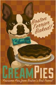 Boston Terrier - Retro Cream Pie Ad by Lantern Press