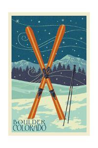 Boulder, Colorado - Crossed Skis by Lantern Press