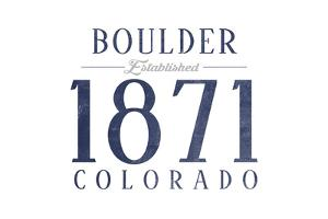 Boulder, Colorado - Established Date (Blue) by Lantern Press