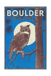 Boulder, Colorado - Horned Owl in the Moonlight - Vinatge Magazine Cover by Lantern Press