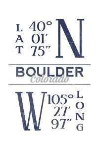 Boulder, Colorado - Latitude and Longitude (Blue) by Lantern Press