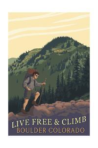Boulder, Colorado - Live Free and Climb by Lantern Press