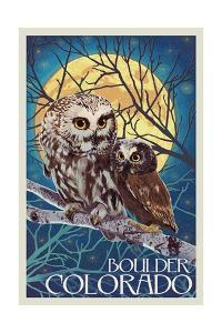 Boulder, Colorado - Owl and Owlet by Lantern Press