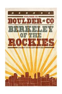 Boulder, Colorado - Skyline and Sunburst Screenprint Style by Lantern Press