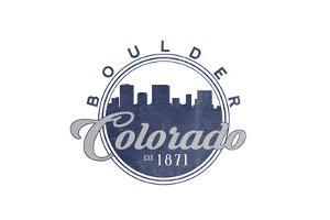 Boulder, Colorado - Skyline Seal (Blue) by Lantern Press