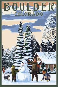 Boulder, Colorado - Snowman Scene by Lantern Press