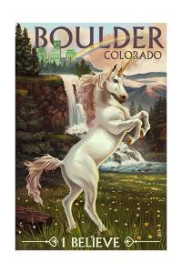 Boulder, Colorado - Unicorn Scene by Lantern Press