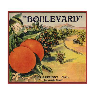 Boulevard Brand - Claremont, California - Citrus Crate Label by Lantern Press