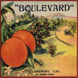 Boulevard Brand - Claremont, California - Citrus Crate Label by Lantern Press