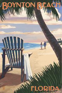 Boynton Beach, Florida - Adirondack Chair on the Beach by Lantern Press