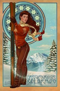 Breckenridge, Colorado - Art Nouveau Skier by Lantern Press