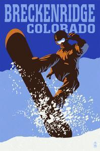 Breckenridge, Colorado - Colorblocked Snowboarder by Lantern Press