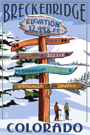 Breckenridge, Colorado - Ski Run Signpost
